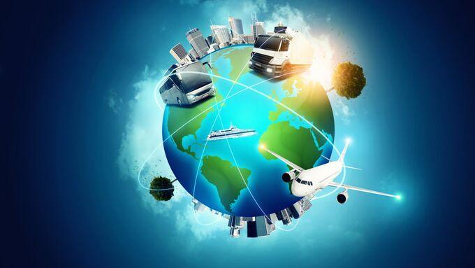 Weltkugel, Logistik, Verkehrswege, Verkehrträger, global