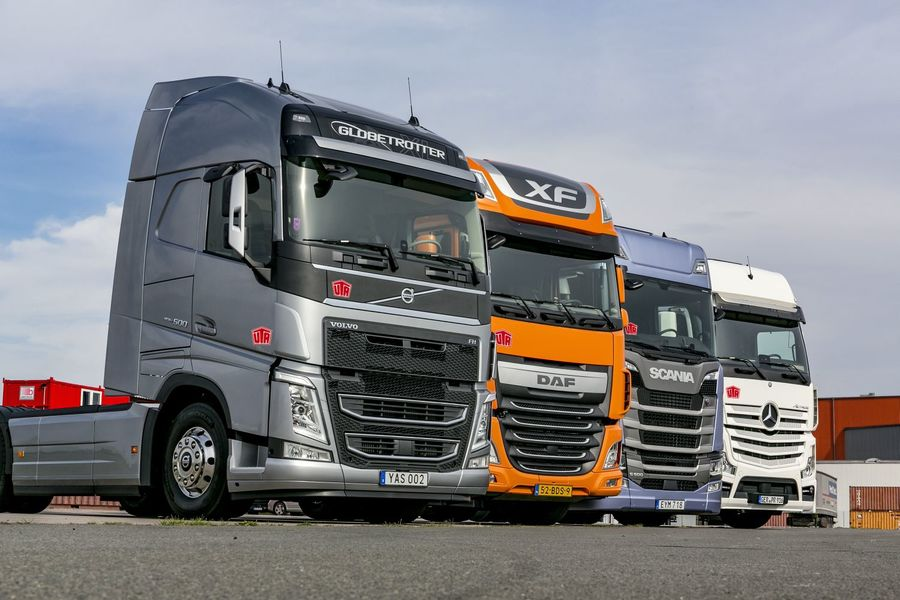 daf, mercedes, scania, volvo: comparison of four 500 hp trucks