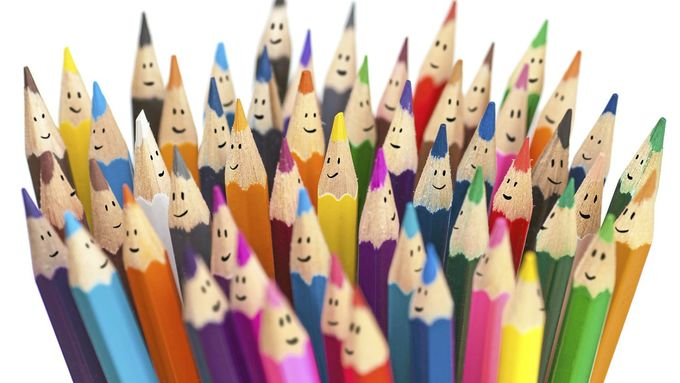 Bleistifte, bunt, Gesicht