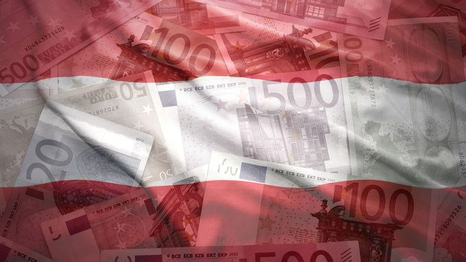 colorful waving austrian flag on a euro money background